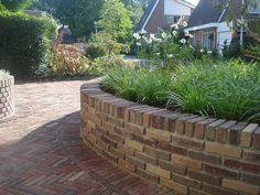 Front Porch Landscape, Landscaping A Slope, Concrete Retaining Walls, Garden Equipment, Brickwork, Back Gardens, Garden Inspiration, Backyard, Exterior