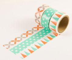 mint washi tape set of 3 rolls for planning, hobonichi, kikki k, ECLP, jounaling, scrapbooking, project life, scrapbooking