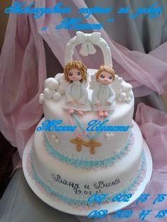 Быстро заказать Комбинированный тортик - Торт на крестины для двойни, в городе Винница, отличная стоимость в Украине, на портале Торт на заказ