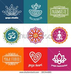 Set of yoga and meditation vector graphics and logo symbols by Mike McDonald, via Shutterstock