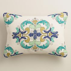 Featuring our exclusive design detailed with intricate embroidery, our soft and chic throw pillow adds a splash of color to your outdoor space. >> #WorldMarket Spring Home Decor