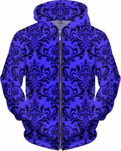 NBK Retro Blue Custom Rave Rebel Revolution Style Zip Hoodie by Willy Badu.