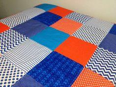 Orange and Blue patchwork cot quilt!