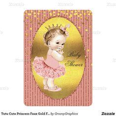 Tutu Cute Princess Faux Gold Foil Glitter Confetti 5x7 Paper Invitation Card