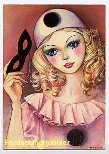 Pretty harlequin girl  http://www.etsy.com/listing/21045185/colombine-vintage-4-postcards-different
