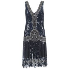 Jigsaw Sequin Flapper Dress, Dusky Navy ($430) found on Polyvore