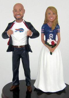 Classic Superhero Sports Jersey Couple Cake Topper Buffalo Bills Football Wedding Toppers