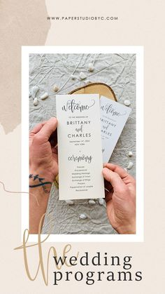 The more involved guests feel in your wedding ceremony, the more likely they are to enjoy themselves. Share the details of your wedding ceremony with your wedding program printed on high-quality paper for a perfect finishing. #weddingprograms #weddingprogram #weddingprogramcard #orderofevent #weddingtimeline #weddingpartycards #preludecards #wedocards #wedo #simpleweddingprograms #rusticweddingprograms #weddingprogramtimeline Rustic Wedding Stationery, Rustic Wedding Programs, Laser Cut Wedding Invitations, Destination Wedding Invitations, Cream Wedding, Fall Wedding, Wedding Ceremony, Wedding Timeline, Stationery Paper