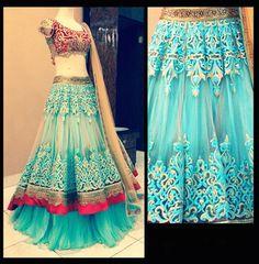 Cream net embroidery workd bridal lahenga choli with dupatta