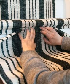 For the basement stairs? Our DIY Stair Makeover: Paint + Runner from featuring Birmingham Black Woven Cotton Rug: d Redo Stairs, Stairs And Staircase, Basement Stairs, Carpet Stairs, Stair Railing, Staircase Design, Diy Stair, Staircase Ideas, Railings