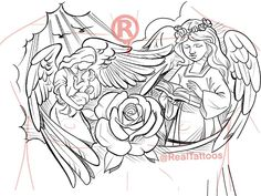 """50 pages of sketches and line drawings """"All angels"""" Chest Tattoo Stencils, Half Sleeve Tattoo Stencils, Half Sleeve Tattoos Drawings, Forearm Sleeve Tattoos, Best Sleeve Tattoos, Tattoo Sleeve Designs, Tattoo Designs Men, Shoulder Tattoos, Chest Tattoo Sketches"""