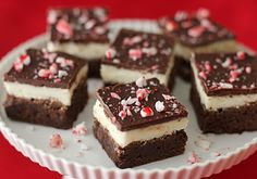 Amazing Chocolate Peppermint brownies with chocolate on top! Christmas candy treat or holiday treat!