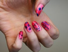 Freehand venereal disease nails over pink gradient base for Valentine's Day. From thumb to pinky: HPV, syphilis, gonorrhea, HIV, and chlamydia.