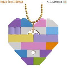 ON SALE Kawaii Pastel necklace  Chunky heart pendant  made #MademoiselleAlma #LEGO #ETSY