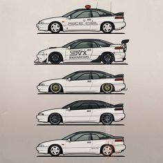 Stack of Pearl White Subaru Alcyone SVXAvailable now at Red Bubble   Artsmoto Profile view of five Subaru/Alcyone SVX coupes in pearl white (paint code 267). From top to bottom: - Subaru Kenkyo Test &...