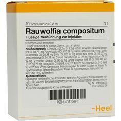 RAUWOLFIA COMPOSITUM Ampullen:   Packungsinhalt: 10 St Ampullen PZN: 04313894 Hersteller: Biologische Heilmittel Heel GmbH Preis: 15,13…