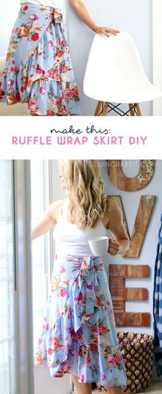SWOONING over this fabric from Jo-Ann Fabrics --> How to sew a Ruffle Wrap Skirt, perfect for Spring!!!