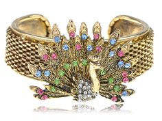 Antique Inspired Golden Crystal Rhinestone Peacock Bird Fashion Bracelet Cuff [S0303] Alilang, Fashion Costume Jewelry & Accessories Store