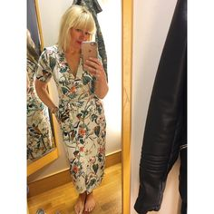 """Fran Bacon (was Schoolrunmum) on Instagram: """"A lovely @warestyle dress £45 perfect for weddings, christenings, first communions etc just add a pair of tan sandals and blazer or to toughen up I tried on with a biker jacket  zip up back so no fiddly front (this is a size 10, I would say true to size) #mumstyle #spring #changingroom #warehouse #dress #summer #weddingoutfit #christeningoutfit"""""""