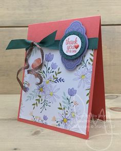 Delightful flowers to show you I care. How about that curled copper trim? Seriously we need more colors! Stampin\' Up! 🤞🏻 #labelmepretty #stampinup #literallymyjoy #papercrafting #cardmaking #stampinupdemonstrator #caring #flowers #thankyou #tranquiltide #DelightfulDaisyDSP #20172018AnnualCatalog #linkinprofile