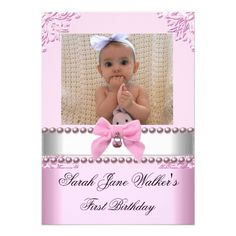 1st Birthday Girl Pink White Pearl Photo First Personalized Invites