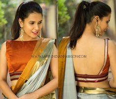 plain saree with boat neck blouse Looking for blouse designs to wear with your plain sarees? Here are 30 creative designer blouse models you can wear with your plain sarees! Saree Jacket Designs, Choli Blouse Design, Saree Blouse Patterns, Designer Blouse Patterns, Sari Design, Blouse Back Neck Designs, Fancy Blouse Designs, Bridal Blouse Designs, Stylish Blouse Design