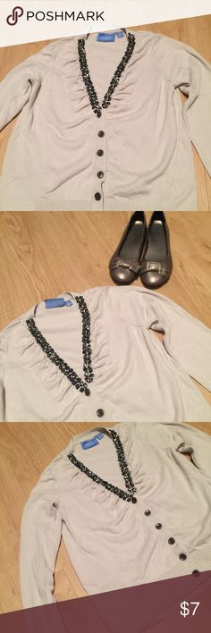 Simply Vera Cream Cardigan Cute cardigan! Bronze embellishments that are in place and nothing missing! Great condition! Rouging on top by embellishments for added flair. Size medium. True to size. Flats for sale too! Simply Vera Vera Wang Sweaters Cardigans
