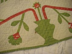 Antique Quilt Red Green Feathers Flowers 1860 1880 Vintage Pennsylvania Handmade | eBay