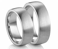 His and Her's 8MM/6MM Brushed Domed Tungsten Carbide Wedding Band Ring Set -- Awesome product. Click the image : Wedding Rings Jewelry