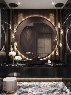 Modern Luxury Bathroom, Bathroom Design Luxury, Luxury Interior Design, Beautiful Bathrooms, Luxury Bathrooms, Lavabo Design, Washroom Design, Dream House Interior, Dark Interiors