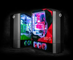 The Origin PC Big O All-In-One Gaming Machine includes an Xbox One X, a PlayStation 4 Pro, and a Nintendo Switch. Ps4, Playstation, Xbox 360, Xbox One S, Custom Gaming Computer, Computer Build, Gaming Pcs, Computer Setup, Nintendo Switch