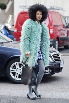 fashion, street style, winter outfit, afro hair, faux fur coat