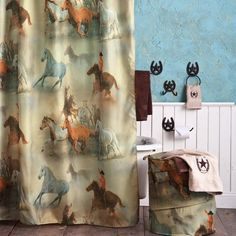 Western Theme Bathroom Decor Horses With Star Shower