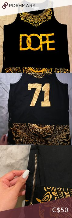 DOPE Gold & Black Tank Top NEEDS A NEW HOME. Hasn't been worn for a long time. Very intricate gold swirls including side zippers for design. PATTERN IS IN MINT CONDITION. No fading. Open to offers! DOPE Shirts Tank Tops Dope Shirt, Tank Top Shirt, L Agent Provocateur, Canada Goose Mens, Grey Sweater Dress, Mens Gloves, Black Tank Tops, Vintage Leather, Swirls