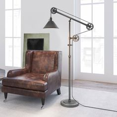 Shop for Carbon Loft Tirith Industrial Farmhouse Floor Lamp with Pulley System. Get free delivery On EVERYTHING* Overstock - Your Online Lamps & Lamp Shades Store! Get in rewards with Club O! Farmhouse Floor Lamps, Farmhouse Flooring, Industrial Farmhouse, Industrial Chic, Industrial House, Farmhouse Table, Industrial Design, Farmhouse Decor, Swing Arm Floor Lamp