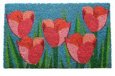 """Kensington Row Collection - TULIP GARDEN COIR DOORMAT - 17"""" x 28"""", $29.95 (http://www.kensingtonrowcollection.com/tulip-garden-coir-doormat-17-x-28/)"""