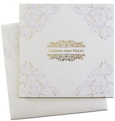 Visit www.regalcards.com for finest quality and trendy designs of Invitation cards. Available now this soft color floral themed invite coupled with real gold foil work.
