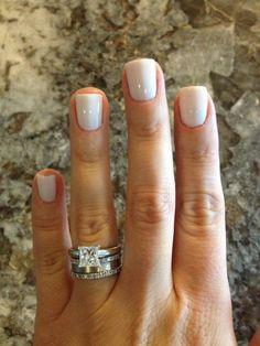 Essie Marshmallow White Short Nails, White Gel Nails, White Nail Polish, Short Square Acrylic Nails, Light Pink Nails, Dipped Nails, Classy Nails, Powder Nails, Nail Manicure