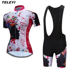 87259644f TELEYI Flower White MTB Bike Jersey bib shorts sets Ropa Ciclismo maillot Women  Cycling Clothing Girl