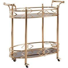 Chelsea Lane Rose Gold Finish Black Tempered Glass Metal Kitchen Cart