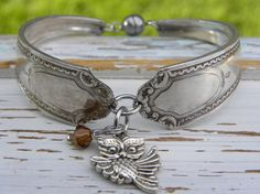 Spoon handle bracelet - owl charm - brown crystal bead - silver vintage spoon handles - your birthstone color - magnetic clasp - Size 7 1/4