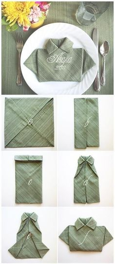The T-Shirt Fold for Napkins. (too cute for a Fathers Day dinner) 28 Creative Napkin Fold Techniques. T Shirt Folding, Napkin Folding, Napkin Origami, Oragami, Deco Table, Cloth Napkins, Diy Shirt, Dinner Table, Lunch Table