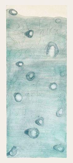 """Liz Ward<br /><em>Ice Core</em>  2012<br />spit bite aquatint, staged aquatint and line etching, blind embossment, ed: 30<br />38"""" x 18""""<br />LW 222"""