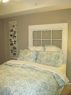 love this headboard made from an old window and crown molding and i like the shutter with the pics in it also!