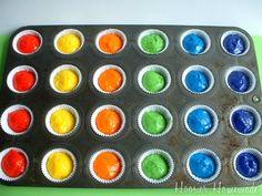 Mini Rainbow Cupcakes   Recipe & Instructions on HoosierHomemade.com