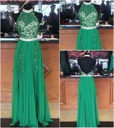 Green Prom Dresses,Beading Evening Gowns,Modest Formal Dress,Beaded Prom Dresses