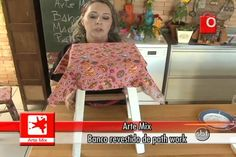 Banco revestido com retalhos de tecido