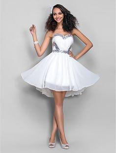 A-line Sweetheart Short/Mini Chiffon Cocktail/Prom Dress (759813) - USD $ 79.99