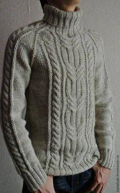 Knitted warm sweater Marko – shop online on Livemaster with shippingFor Men handmade. Knitting Pullover, Handgestrickte Pullover, Aran Knitting Patterns, Knitting Designs, Crochet Patterns, Hand Knitted Sweaters, Warm Sweaters, Knitting Sweaters, Pull Crochet