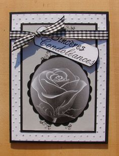 """carte condoléances noire grise blanche message """"sincères condoléances"""" ruban : Cartes par cdine08"""
